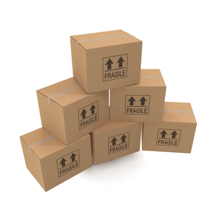 corrugated box: Stacks of cardboard boxes isolated on white background. Stock Photo