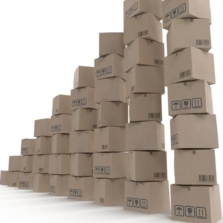 白い背景に分離された段ボール箱の山。 写真素材