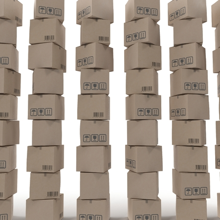 cajas de carton: Stacks of cardboard boxes isolated on white background. Foto de archivo
