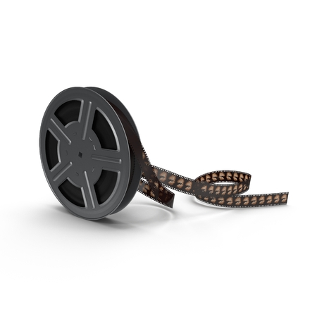 16mm: Movie  film reel on white background