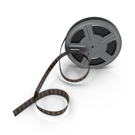 film strip: Movie  film reel on white background