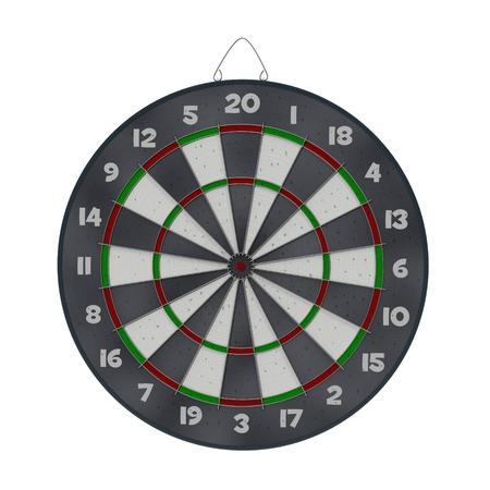 holed: Old target dartboard isolate on white background.