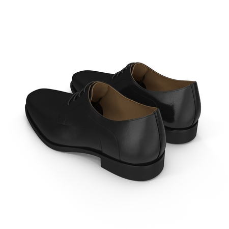 satined: The black mans shoes isolated on white background.