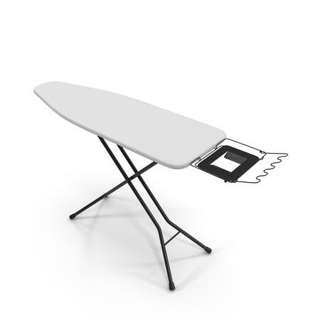 domesticity: Empty ironing board isolated on white background