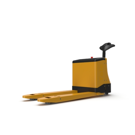 sacktruck: Powered Pallet Jack Yellow isolated on white background Stock Photo