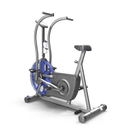 stationary bike: Stationary bike, gym machine over white background 3D illustration. Stock Photo