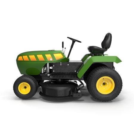 白い背景の 3 D 図を芝生のトラクター。 写真素材