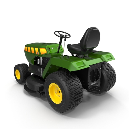 over white background: Lawn tractor over white background 3D illustration.