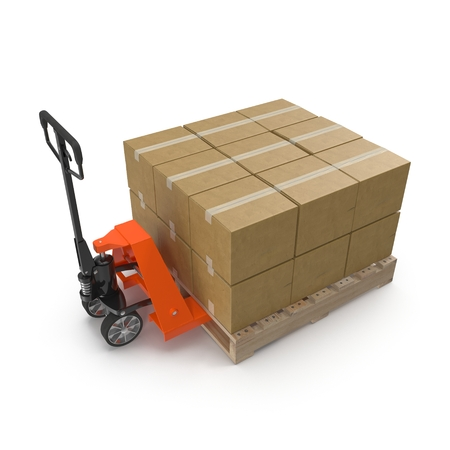 Pallet jack with boxes on pallets over white background 3D illustration. Stock Photo