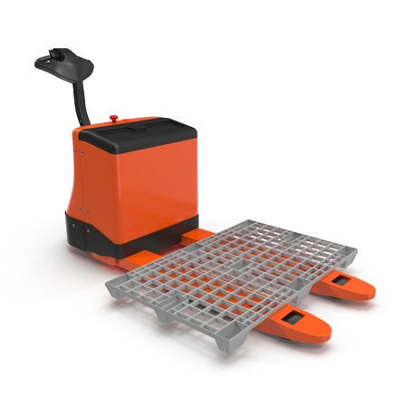 lifting jack: Electric walkie pallet jack isolated on white background 3D Illustration
