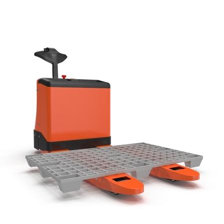 lifting jack: Electric walkie pallet jack isolated on white background 3D Illustration