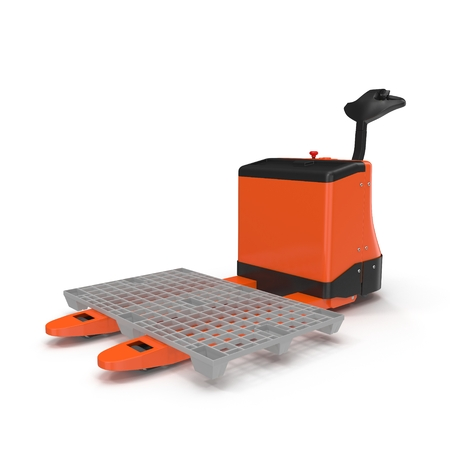 shifting: Electric walkie pallet jack isolated on white background 3D Illustration