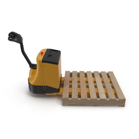 sacktruck: Electric walkie pallet jack isolated on white background 3D Illustration