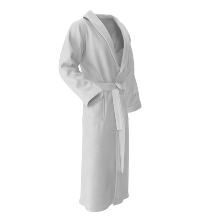 bathrobe: white bathrobe. isolated on white background 3D Illustration