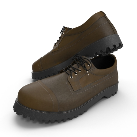 durability: Hiking boots on the white background 3D Illustration