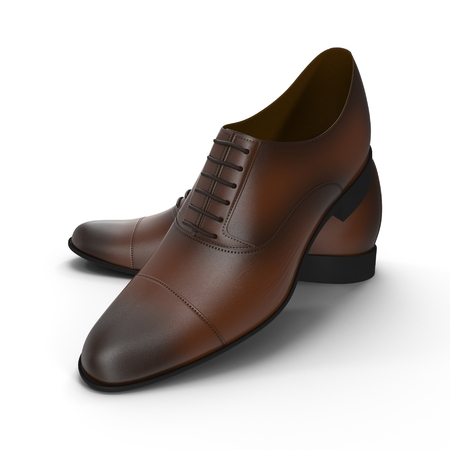 leather shoes: Male leather shoes isolated on a white background, 3D illustration