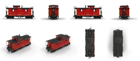 haul: Red Caboose isolated on white background 3D Illustration
