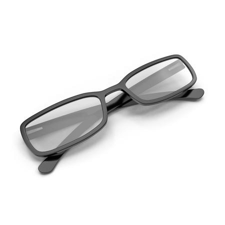 eye glasses: Black Eye Glasses Isolated on White Background 3D Illustration