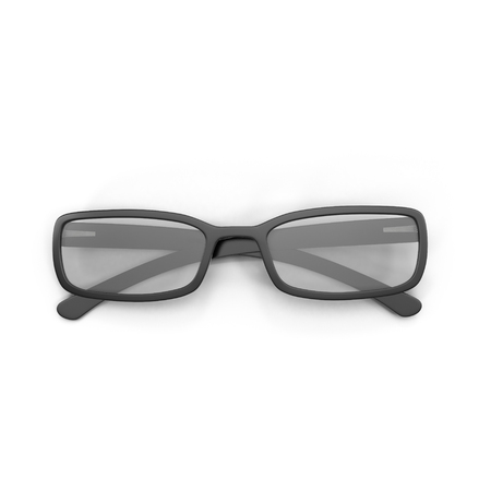eye 3d: Black Eye Glasses Isolated on White Background 3D Illustration