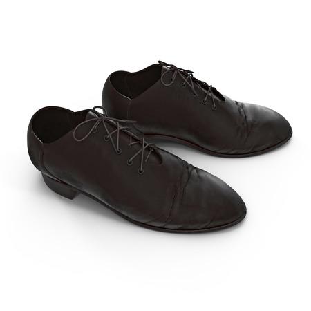 muddy track: Used men shoes isolatd on white background 3D Illustration
