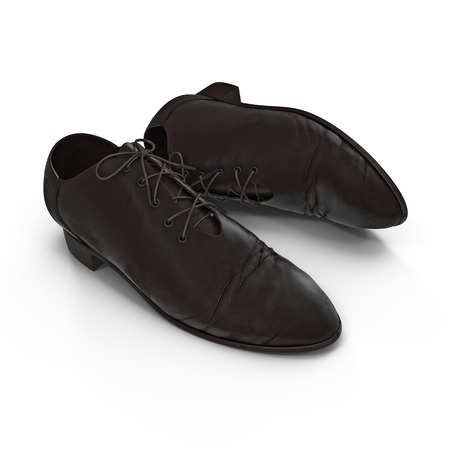 disrupt: Used men shoes isolatd on white background 3D Illustration