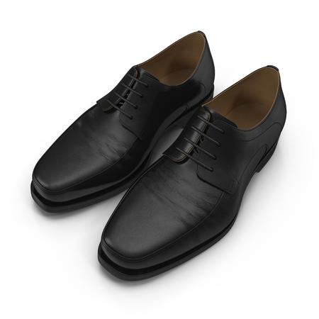 threadbare: Used men shoes isolatd on white background 3D Illustration