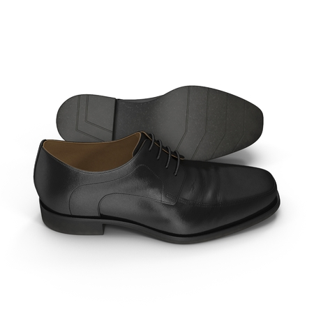 dirty feet: Used men shoes isolatd on white background 3D Illustration