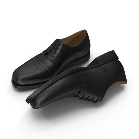 isolatd: Used men shoes isolatd on white background 3D Illustration