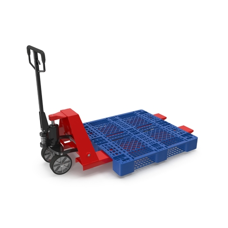 lifting jack: Red pallet jack with a blue plastic pallet isolated on white background 3D Illustration