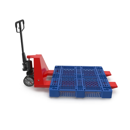 shifting: Red pallet jack with a blue plastic pallet isolated on white background 3D Illustration