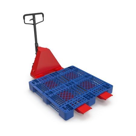 lift and carry: Red pallet jack with a blue plastic pallet isolated on white background 3D Illustration