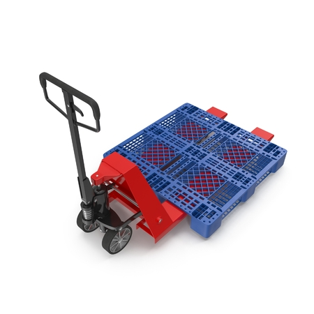 hydraulic platform: Red pallet jack with a blue plastic pallet isolated on white background 3D Illustration