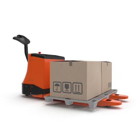 Electric walkie pallet jack isolated on white background 3D Illustration