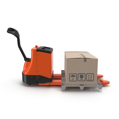 stockpile: Electric walkie pallet jack isolated on white background 3D Illustration