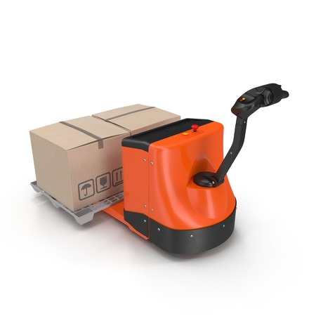 warehousing: Electric walkie pallet jack isolated on white background 3D Illustration