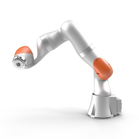robot arm: Robot arm for industry isolated on white background 3D Illustration Stock Photo