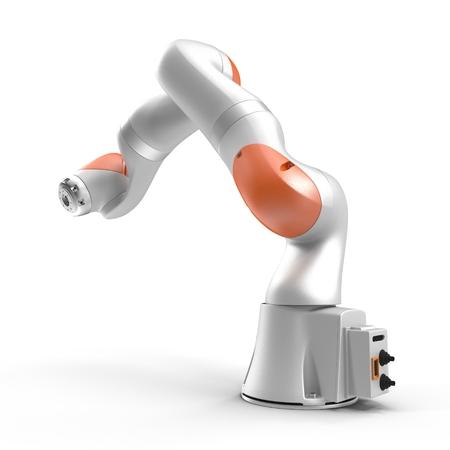 白で隔離産業用ロボット アーム 3 D イラストレーションの背景 写真素材