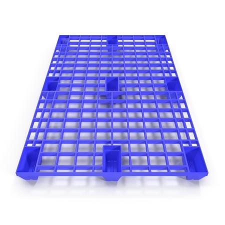 hipotesis: palet de plástico aisladas sobre fondo blanco Ilustración 3D Foto de archivo