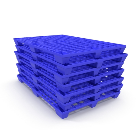 work crate: Plastic pallet isolated on white background 3D Illustration