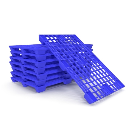 euro pallet: Plastic pallet isolated on white background 3D Illustration