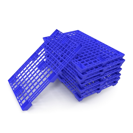 Plastic pallet isolated on white background 3D Illustration