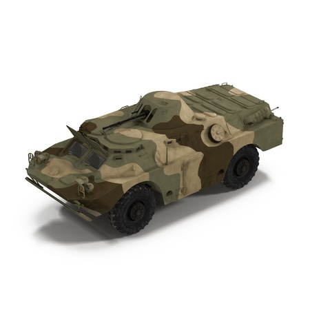weaponry: Amphibious Tank on White Background 3D Illustration