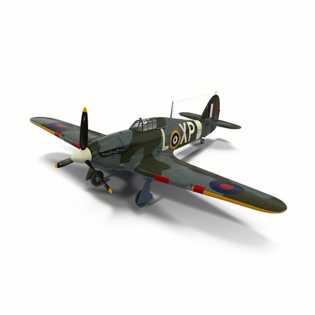hawker: Hawker Hurricane Aircraft isolated on white background 3D Illustration Stock Photo
