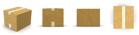 corrugated box: Closed cardboard box taped up and isolated on a white background 3D Illustration