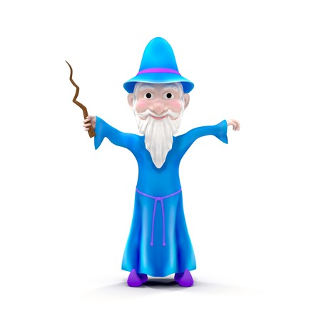 wizardry: Cartoon Wizard with staff. Isolated on white background 3D Illustration Stock Photo