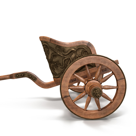 Roman Chariot Racing on White Background 3D Illustration Stock Photo