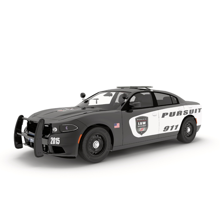 interceptor: Police car. Sport and modern style. Isolated on white background 3D Illustration Stock Photo