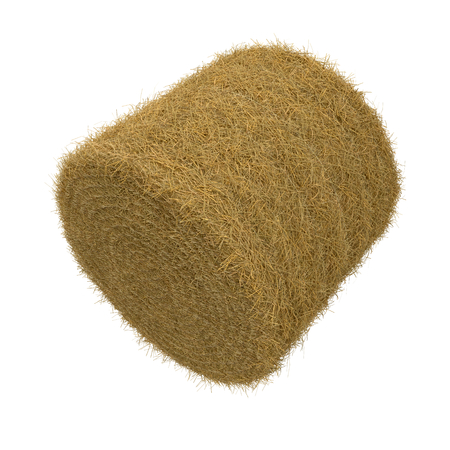 Hay pile isolated on a white background as an agriculture farm and farming symbol of harvest time 3D Illustration