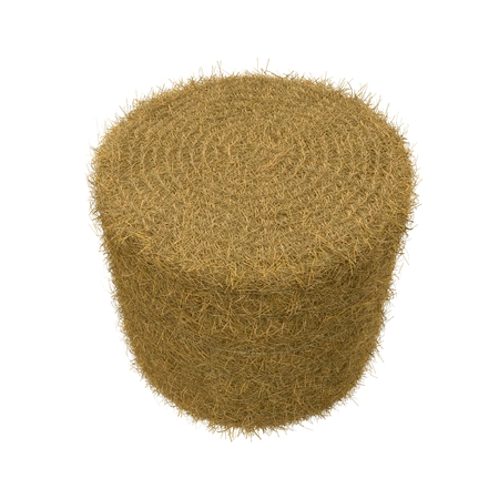 harvest time: Hay pile isolated on a white background as an agriculture farm and farming symbol of harvest time 3D Illustration