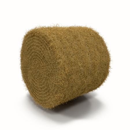 tas de foin isolé sur un fond blanc comme une ferme d'agriculture et symbole de l'agriculture du moment de la récolte 3D Illustration